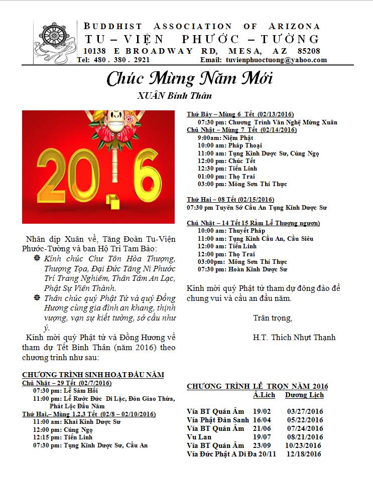 Chương Trình Lễ Phật Đầu Năm Bính Thân 2016 Của Tu Viện Phước Tường